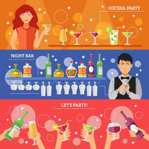 Cocktail party night bar flat banners Free Vector