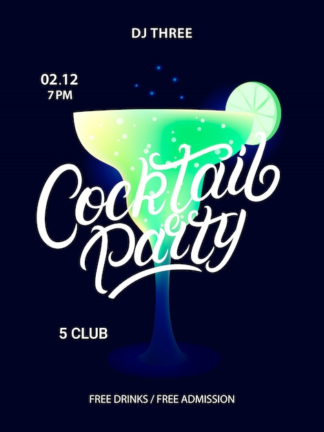 Cocktail party poster. Premium Vector