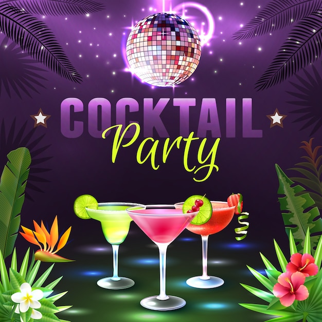 Cocktail Party Poster Vector Free Download