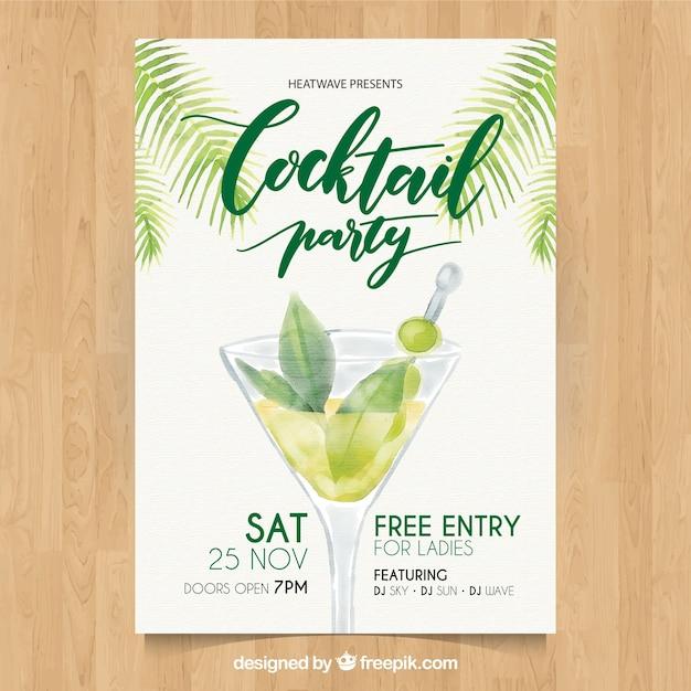Cocktail party watercolor brochure Free Vector