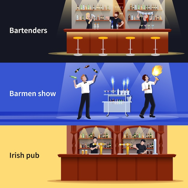 Cocktail people banner set Free Vector