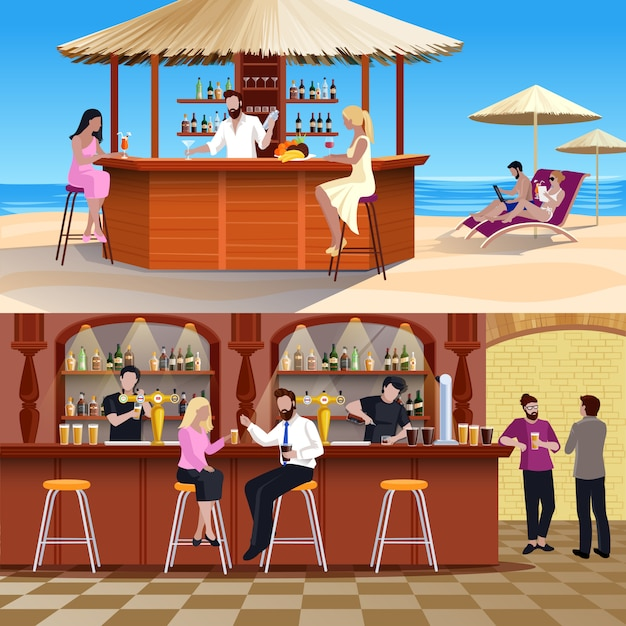 Cocktail people composition set Free Vector