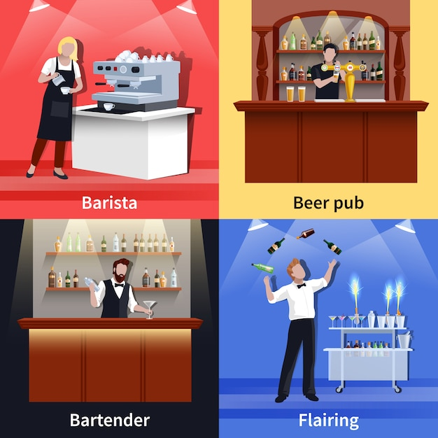 Cocktail people icon set Free Vector