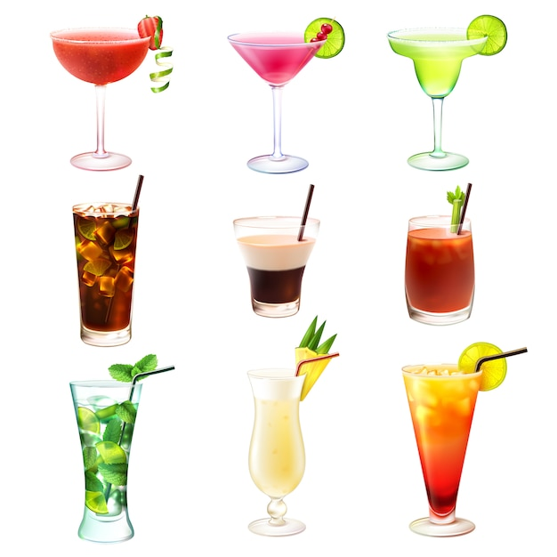 Cocktail realistic set Free Vector