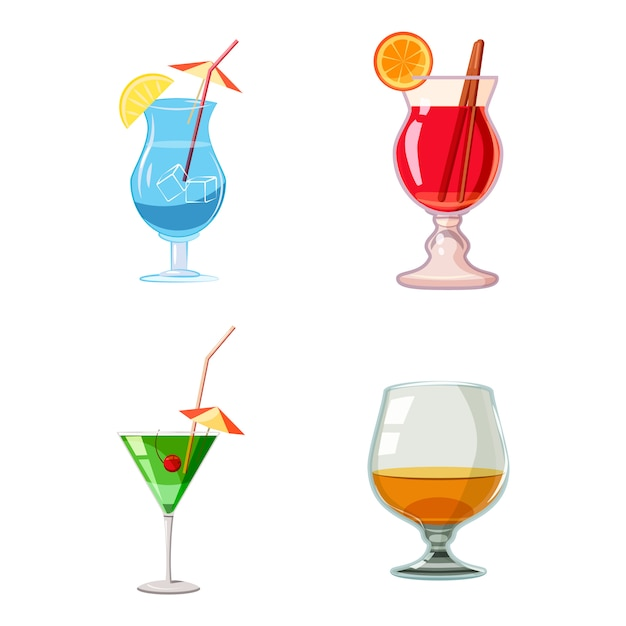 Cocktail set. cartoon set of cocktail Premium Vector