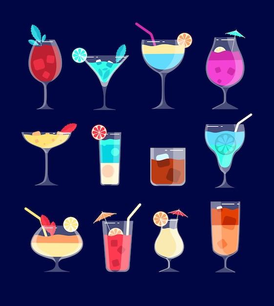 Коктейльный набор. холодные алкогольные напитки в стаканах с трубочкой, лимоном. кайпиринья, виски и мохито, коктейль-бар пина колада. коктейль, алкоголь, виски и освежающие напитки иллюстрация Premium векторы