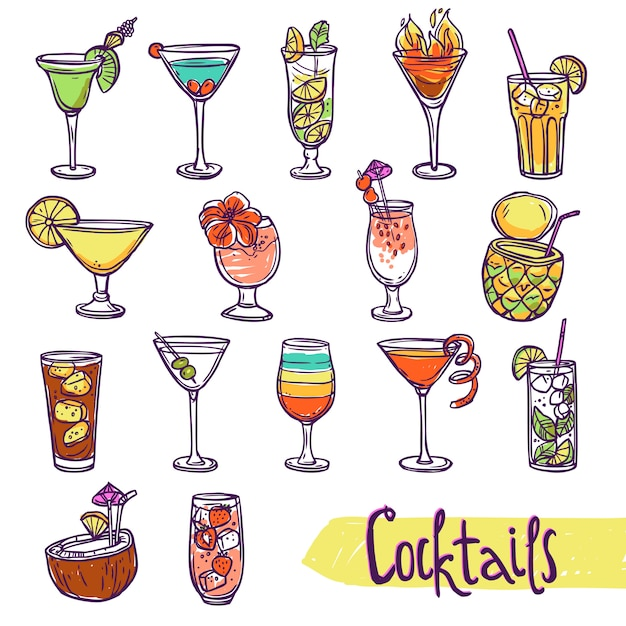 Cocktail sketch set Free Vector