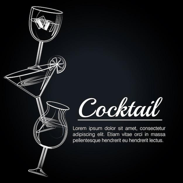 Cocktail tropical poster bar icon Premium Vector