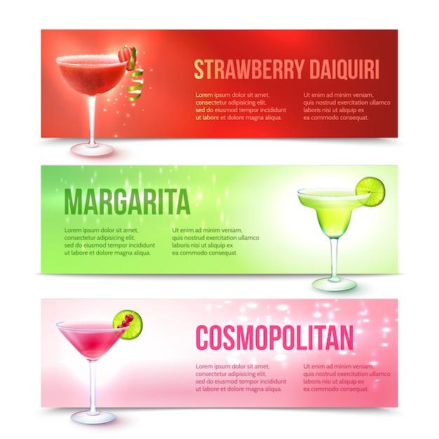 Cocktails banner set Free Vector