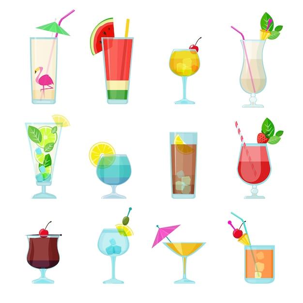 Коллекция коктейлей. алкогольные летние напитки жидкую пищу в очках водка мохито самбука мартини векторный набор. коктейль мартини и мохито, иллюстрация жидкого алкоголя Premium векторы