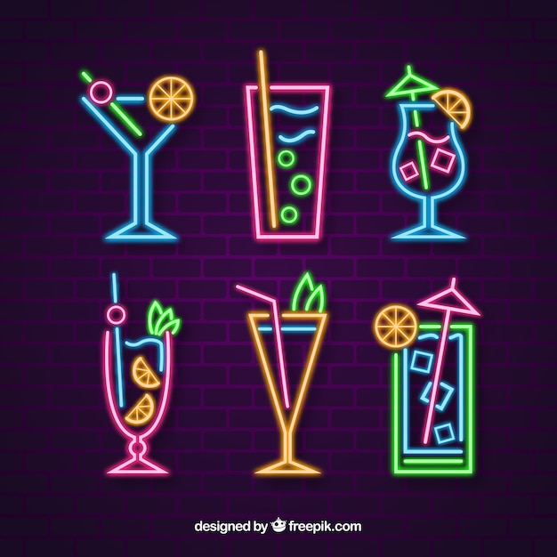 Cocktails collection with neon light Free Vector