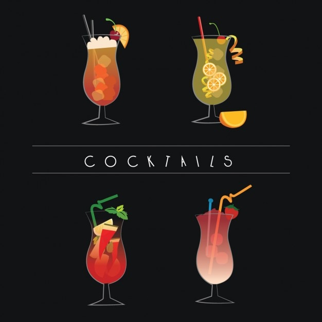 Cocktails collection Free Vector