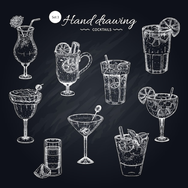 Cocktails hand drawn collection Free Vector