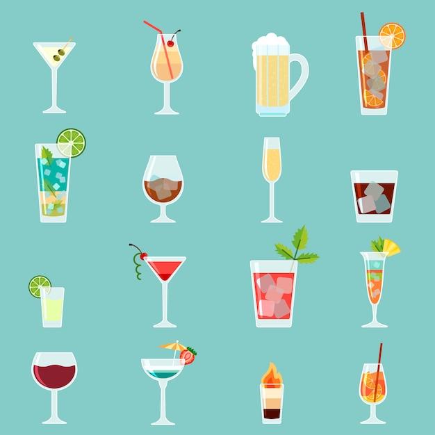 Cocktails icon set Premium Vector