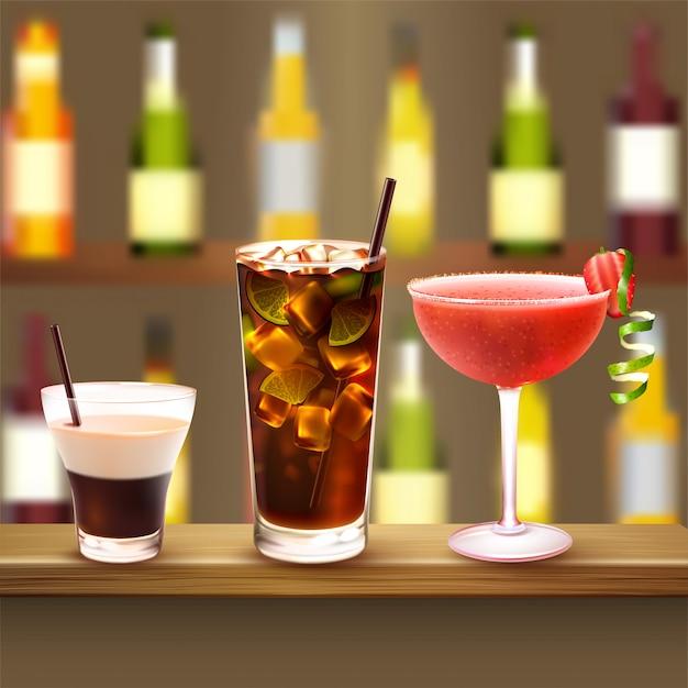 Cocktails illustration Free Vector