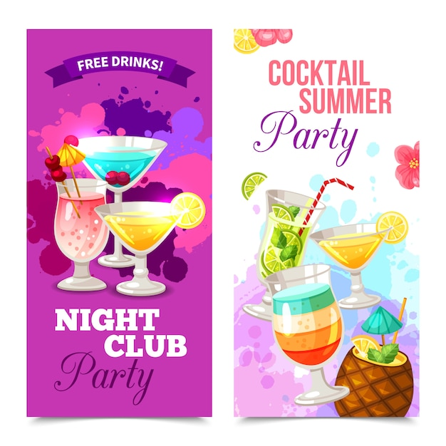 Cocktails party banners Free Vector
