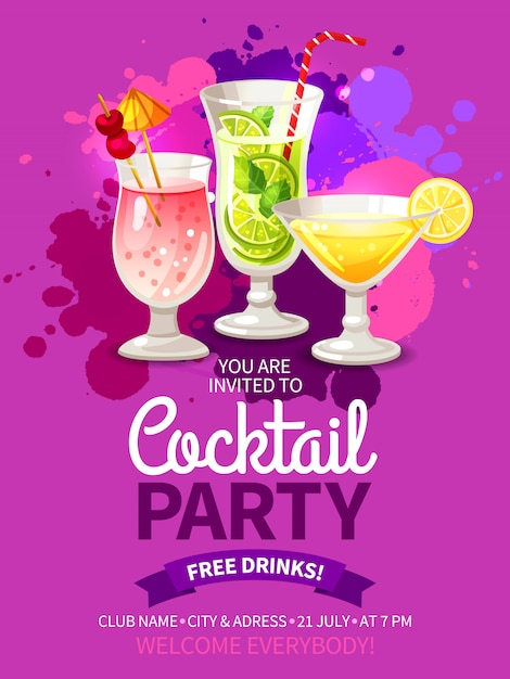 Cocktails party flyers Free Vector