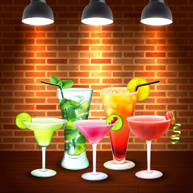 Cocktails realistic colored composition Free Vector