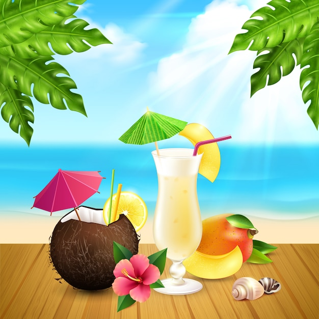 Cocktails realistic pina colada composition Free Vector