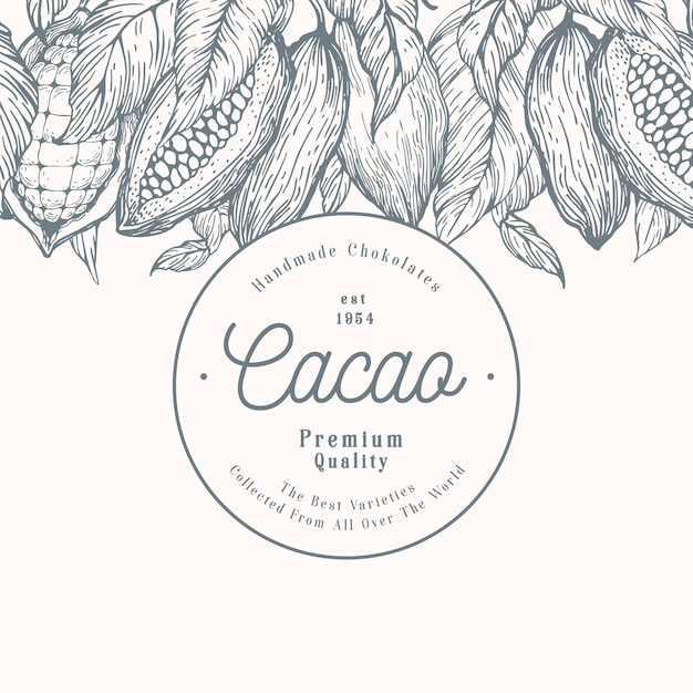 Cocoa bean tree banner template. chocolate cocoa beans background. vector hand drawn illustration. retro style illustration. Premium Vector