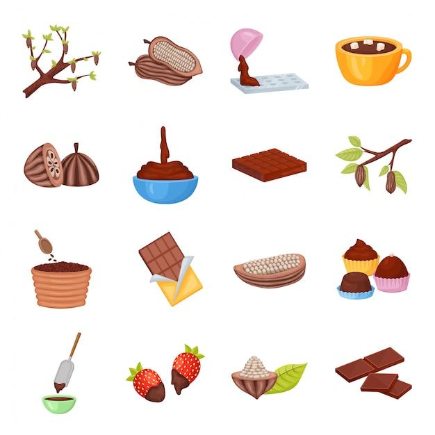 Какао-бобы векторный мультфильм значок набор Premium векторы