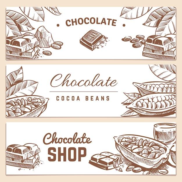 ココア豆、チョコレート製品の水平ベクトルバナーセット Premiumベクター