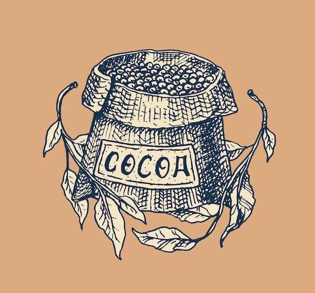 ココア豆、穀物、バッグ。 tシャツ、タイポグラフィ、ショップ、看板のビンテージバッジまたはロゴ。手描きの刻まれたスケッチ。 Premiumベクター