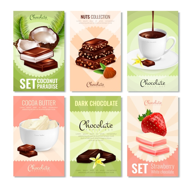 Cocoa products cards collection Free Vector