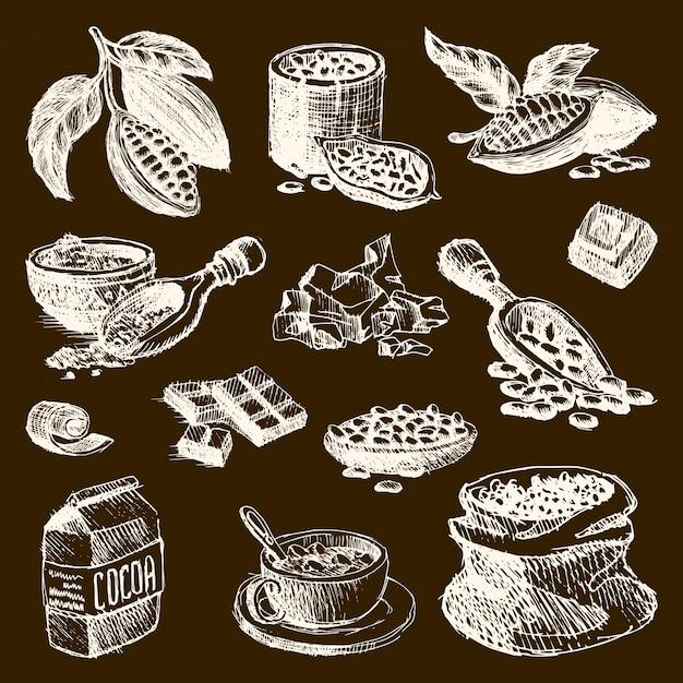 ココア製品の手描きのスケッチ落書きスタイルコーヒー豆製品食品チョコレート甘いカカオイラスト。ビンテージスタイルの植物天然豆有機カカオ成分 Premiumベクター