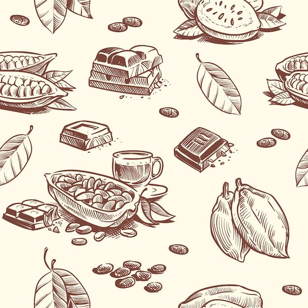 Cocoa tree, chocolate beans seamless pattern Premium Vector