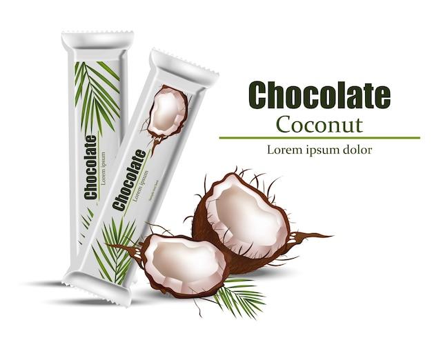 Кокосовый шоколадный пакет макет Premium векторы