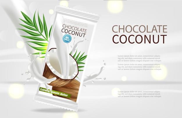 Coconut chocolate template Premium Vector