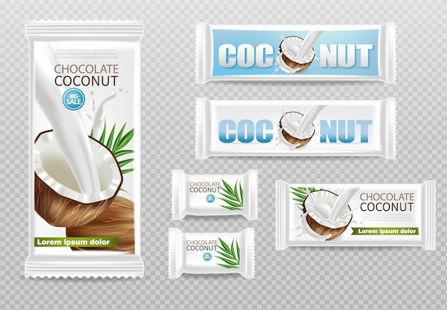 Coconut chocolates isolated Premium Vector