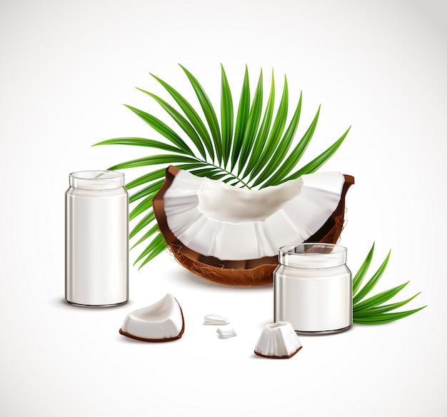 Кокосовый крупный план реалистичная композиция с кусочками орехов белые кусочки плоти полные стеклянные банки молочные пальмовые листья иллюстрация Бесплатные векторы