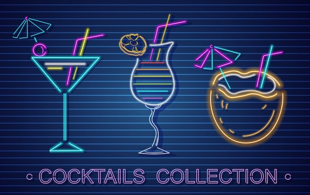 Coconut cocktails set neon Premium Vector
