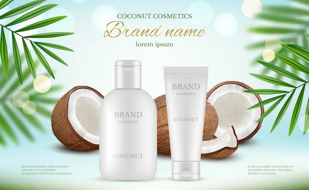 Кокосовая косметика. рекламный плакат с кремовыми тюбиками и свежим кокосом и натуральными молочками для тела реалистично Premium векторы
