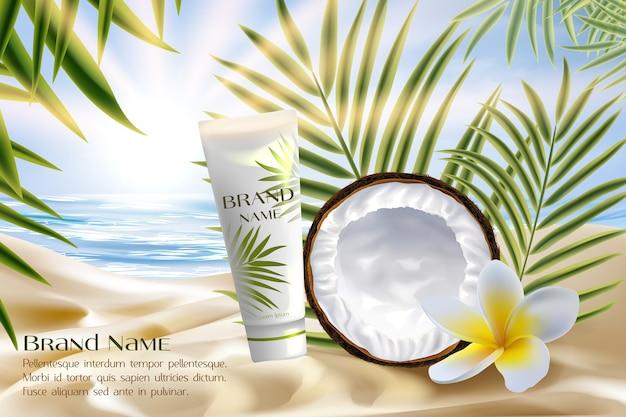 Coconut cosmetics product package vector illustration. Premium Vector