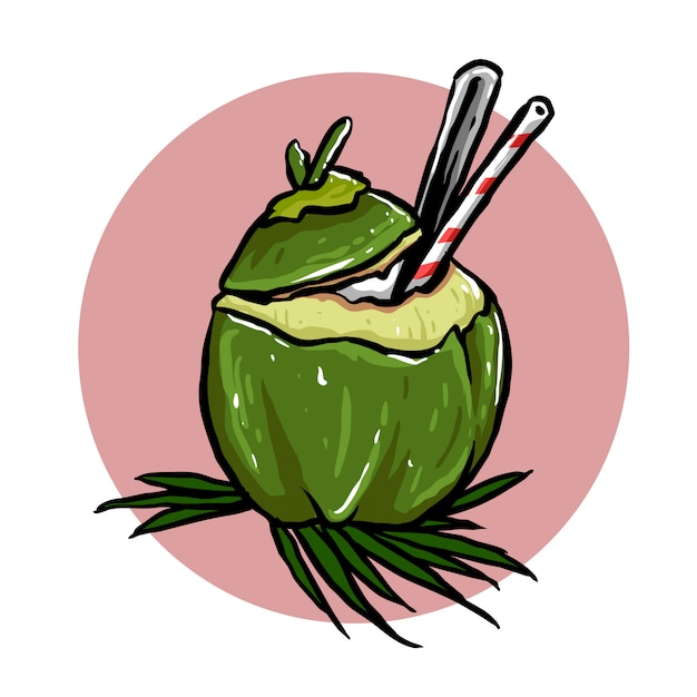 Coconut drink Premium Vector