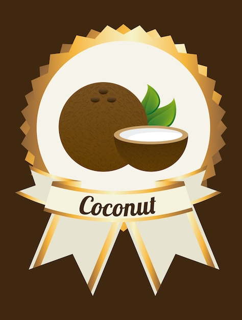 Coconut label on brown Free Vector