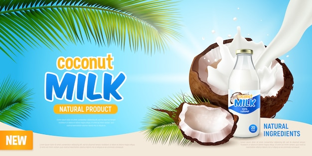 Coconut milk realistic poster with advertising of natural product green leaves of palm tree cracked coconut and non dairy vegan milk in bottle  illustration Free Vector