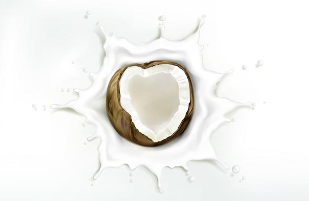 Coconut in milk splash  on white backdrop Free Vector