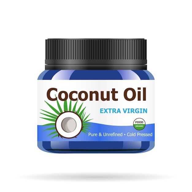 Кокосовое масло в реалистичной синей банке. Premium векторы