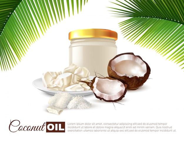 Кокосовое масло реалистичный плакат Бесплатные векторы