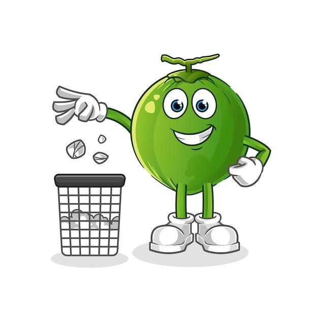 ココナッツはゴミ箱にゴミを投げるマスコット Premiumベクター