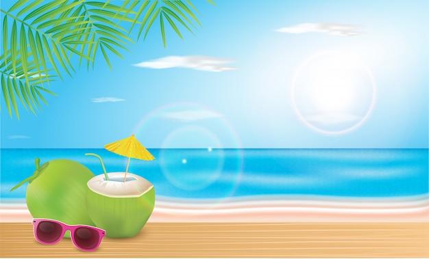Кокосовую воду укладывают на пляжные доски. векторная иллюстрация hello summer holiday. Premium векторы