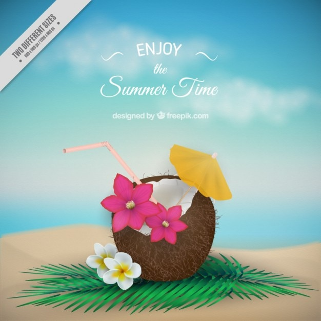 Coconut with flowers summer background