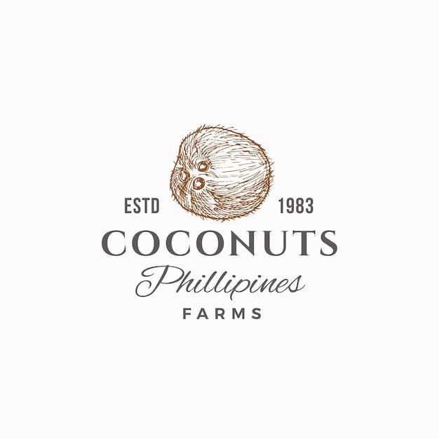 Кокосовые фермы знак, символ или шаблон логотипа. ручной обращается эскиз кокоса с ретро-типографикой. винтажная роскошная эмблема. Бесплатные векторы