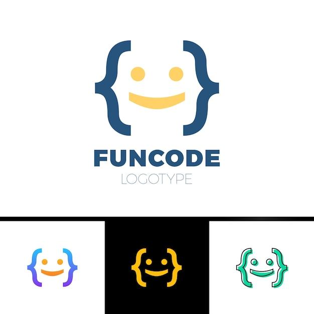 Code bracket man logo - голова улыбки, сделанная с помощью скобок Premium векторы