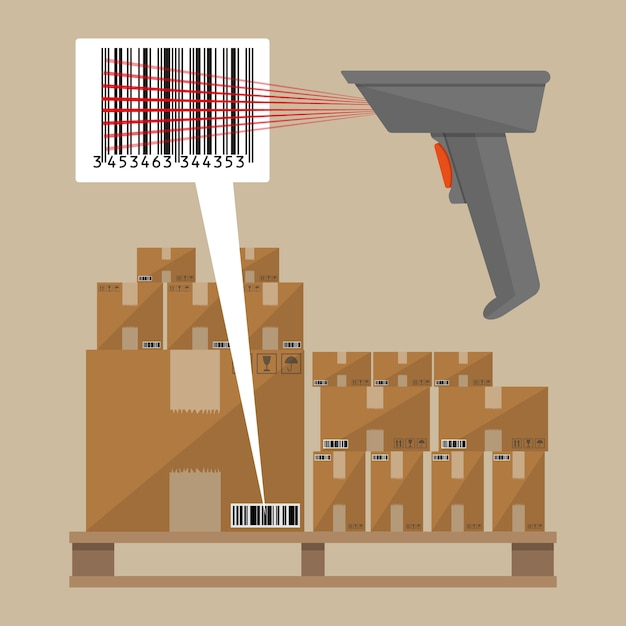 Code reader and cardboard boxes Premium Vector