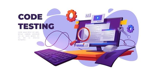 코드 테스트 만화 배너. 기능 테스트, 프로그래밍 방법론, 검색 오류 및 버그, 웹 사이트 플랫폼 개발, 컴퓨터 pc 벡터 일러스트를위한 대시 보드 사용성 최적화 무료 벡터